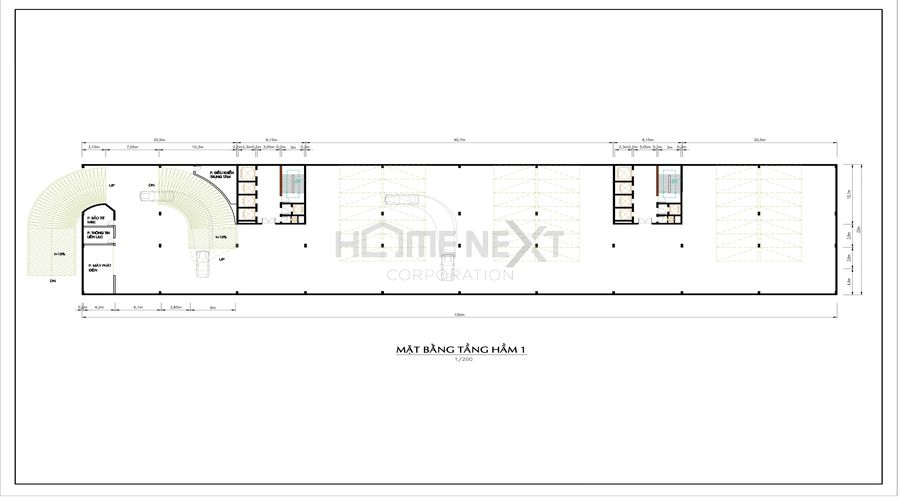 thiết kế Mặt bằng tầng hầm 1 của Techport city
