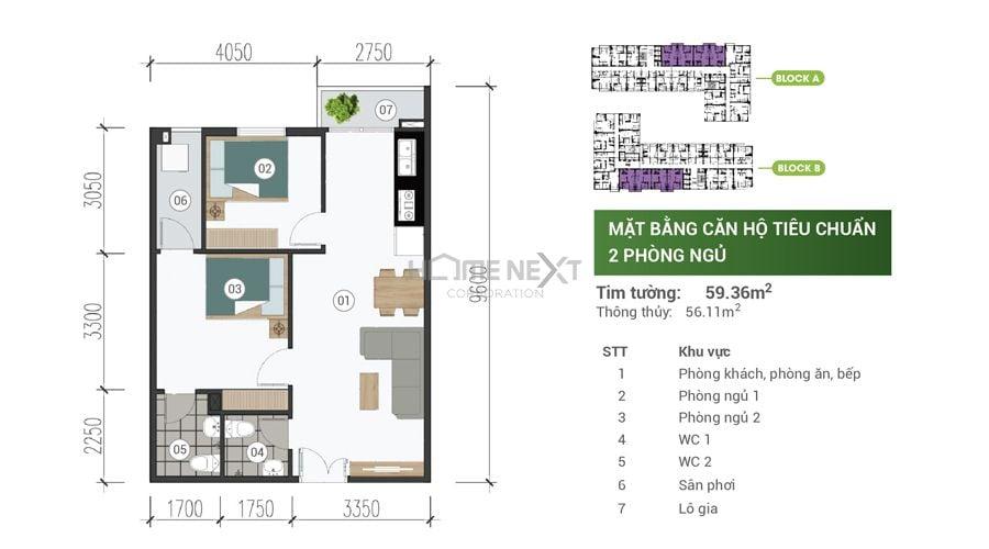 Mặt bằng căn hộ Park View Thuận An - 2 phòng ngủ