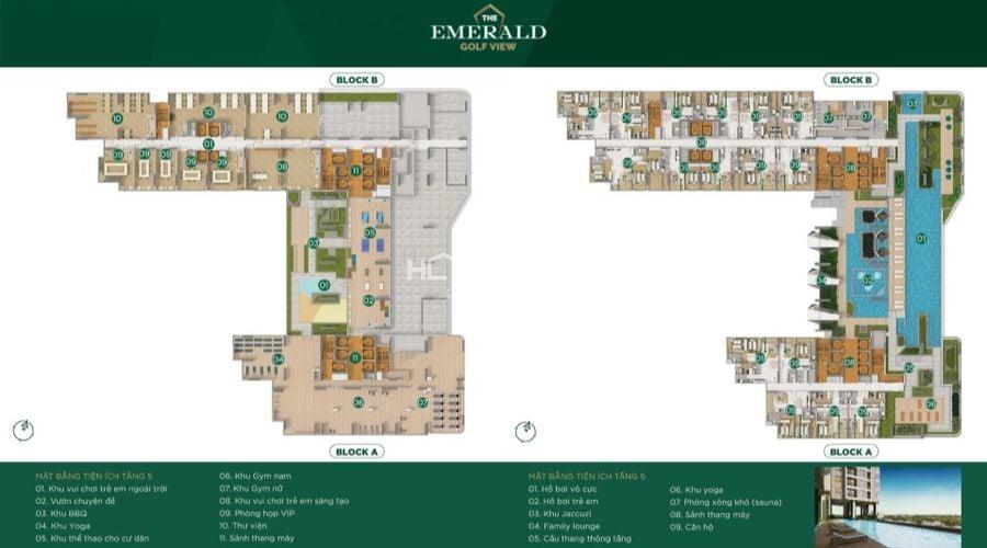 Thiết kế mặt bằng tiện ích The Emerald tầng 5,6