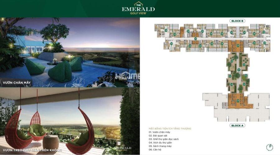 Thiết kế mặt bằng tiện ích The Emerald tầng thượng