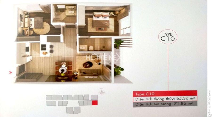 Mẫu C10 bản vẽ căn 2 phòng ngủ tại dự án Astral City Bình Dương