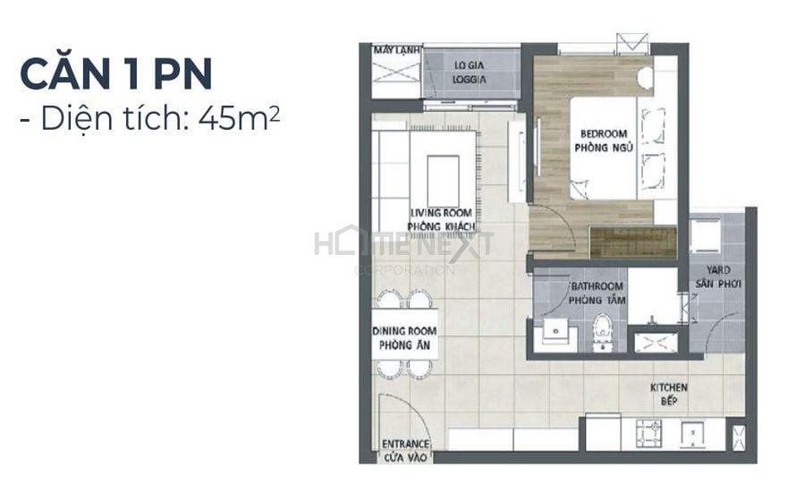 Mẫu thiết kế căn 1 phòng ngủ