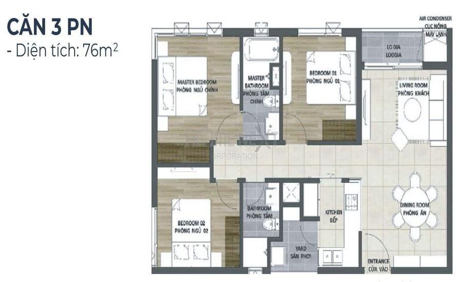 Mẫu thiết kế căn 3 phòng ngủ