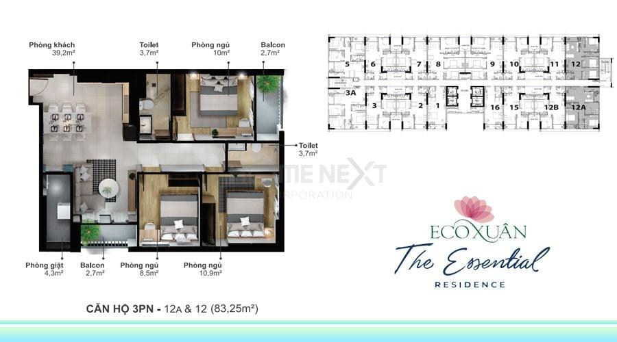 Thiết kế căn hộ 3 phòng ngủ (Loại 12A & 12)