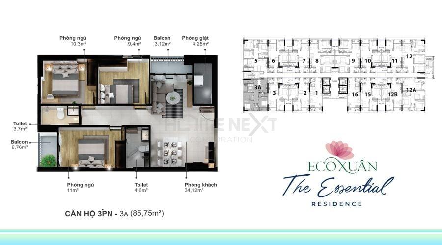 Mẫu căn hộ 3 phòng ngủ 3A diện tích 85,75m2 tại Eco Xuân Lái Thiêu