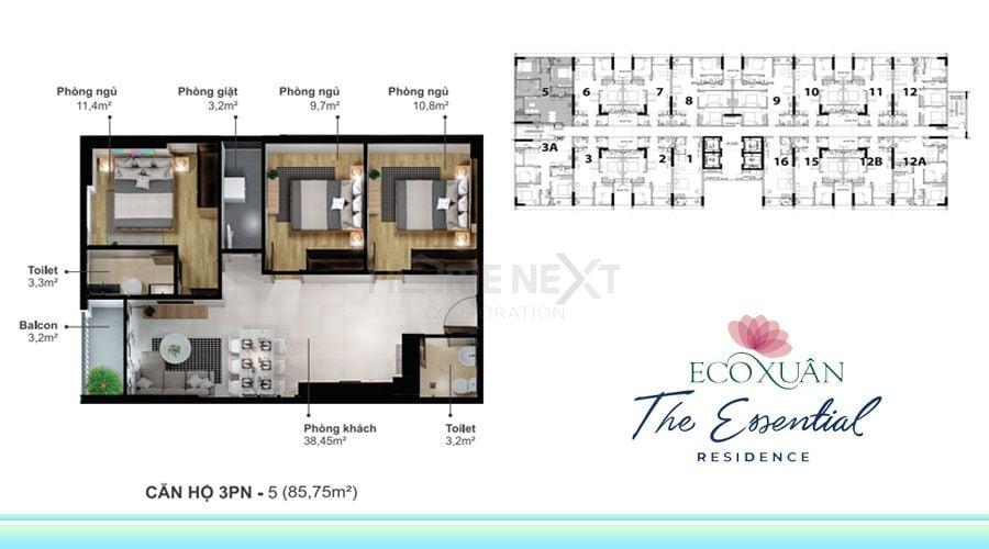 Mẫu căn hộ 3 phòng ngủ loại 5 diện tích 85,75m2 tại Eco Xuân Lái Thiêu