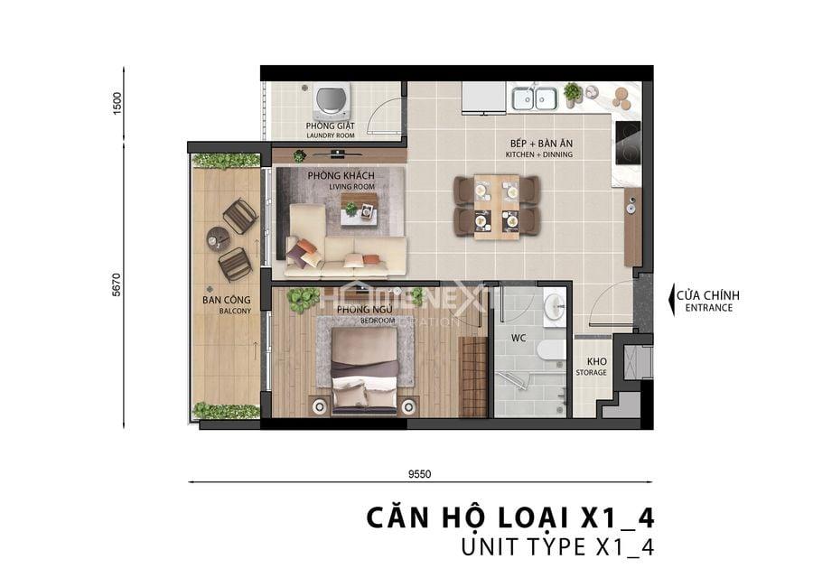 Mẫu căn hộ 1 phòng ngủ tại chung cư Sora Gardens II