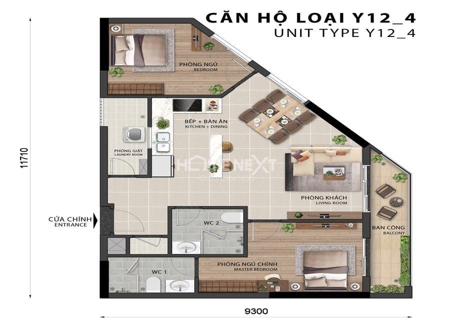 Mẫu căn hộ 2 phòng ngủ điển hình tại dự án chung cư Sora Gardens 2