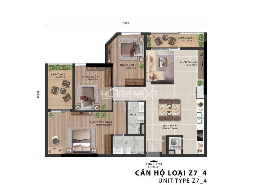 Mẫu căn hộ 3 phòng ngủ Sora Gardens 2 Bình Dương