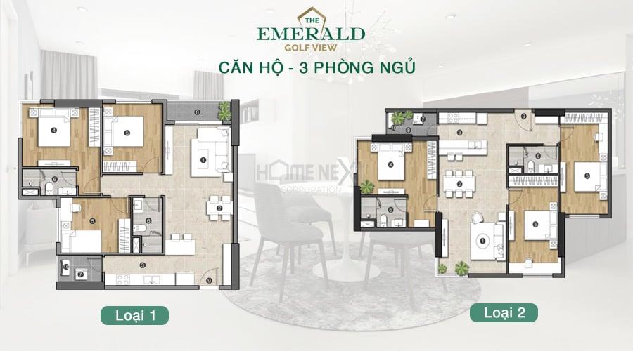 căn hộ Emerald Golf View 3 phòng ngủ