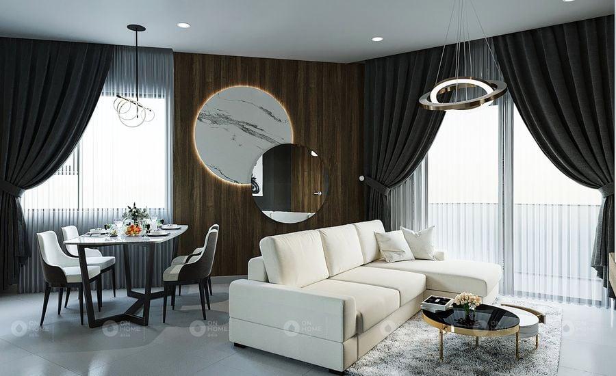Thiết kế nội thất căn hộ Y12 2 phòng ngủ tại dự án Sora Gardens II (Ảnh: OnHome Asia)