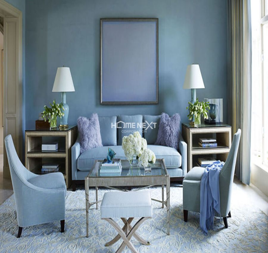 Màu xanh lam cho phòng khách mệnh Thủy