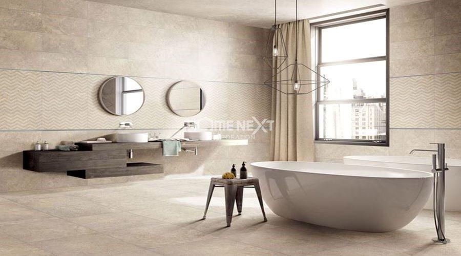 Sử dụng gạch men nhám chống trơn trượt cho sàn nhà tắm