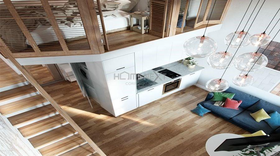 Sàn nhà bằng gỗ nhạt cho không gian nhỏ