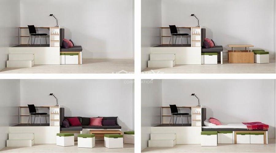 Nới rộng không gian bằng cách sử dụng đồ nội thất thông minh