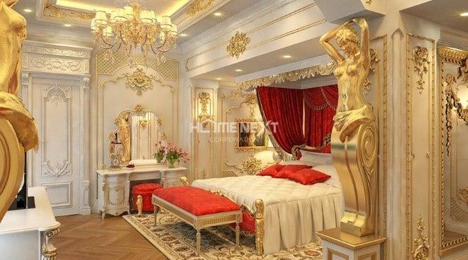 Không gian lộng lẫy của phòng ngủ nhờ kỹ thuật dát Vàng nội thất