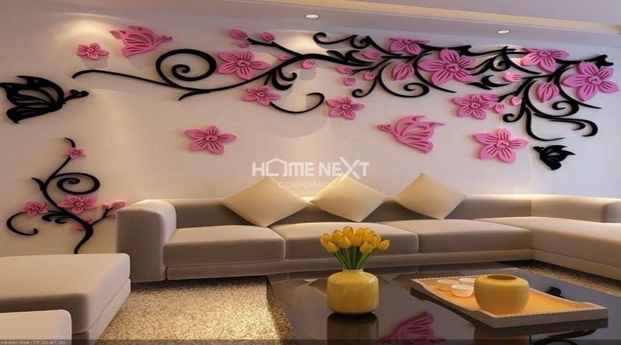 Họa tiết 3D mang lại vẻ đẹp sang trọng và sống động cho không gian phòng khách