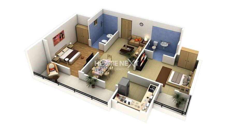 Mặt bằng thiết kế căn hộ chung cư 60m2