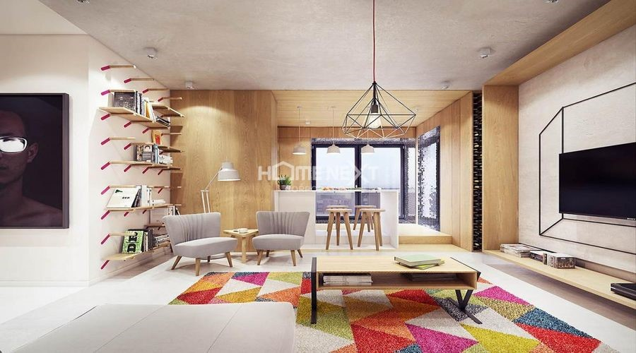 Sử dụng màu sắc tươi sáng làm điểm nhấn cho căn hộ hiện đại