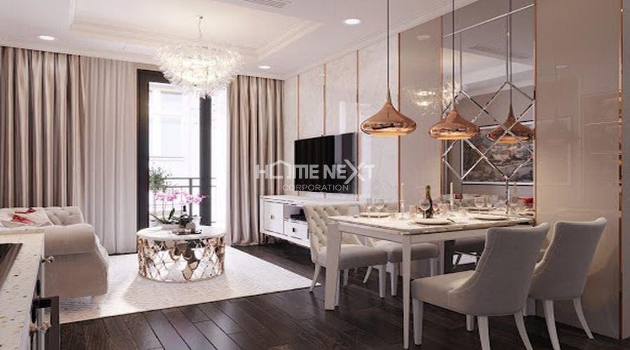 Màu sắc kết hợp hài hòa với nội thất làm cho căn phòng đầy phong cách