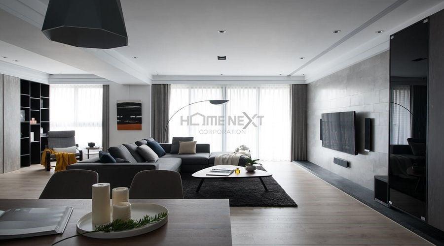 Phòng khách được phân chia bằng thảm