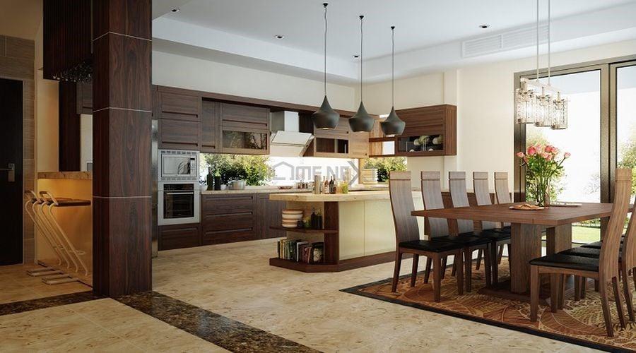 Phòng bếp căn hộ chung cư đẹp, hiện đại