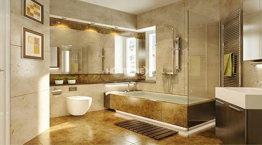 Phòng tắm hiện đại sử dụng vật liệu đá cao cấp