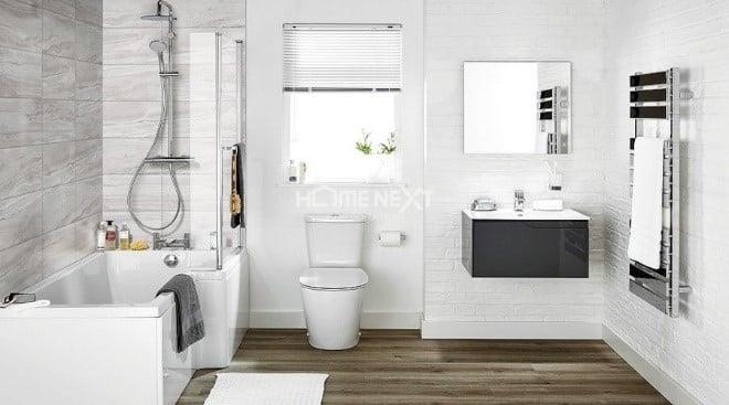 Màu trắng của tường gạch vừa đem lại cảm giác sạch sẽ, vừa làm không gian rộng rãi hơn