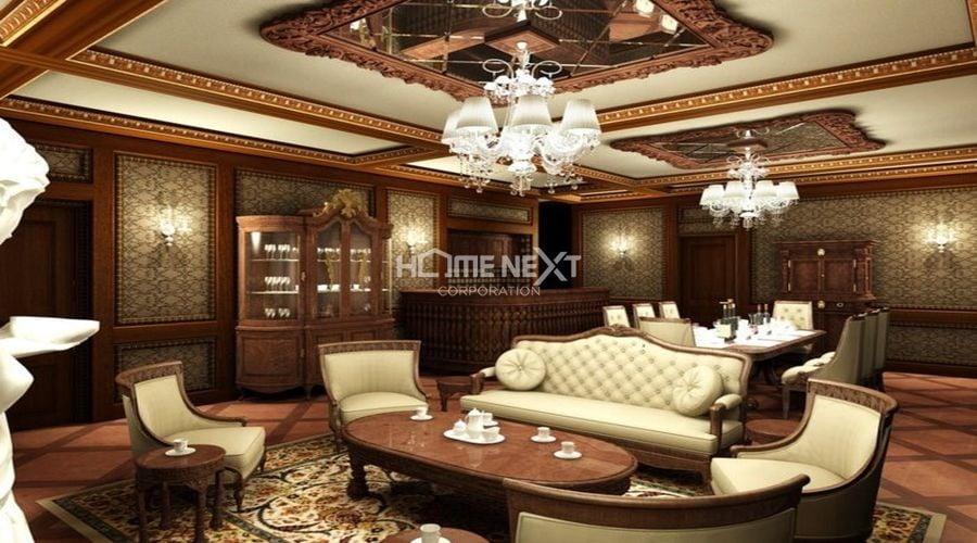 Phòng khách cổ điển thêm sang trọng với đèn chùm đẹp
