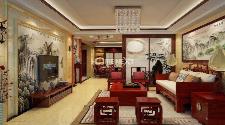 Phòng khách được thiết kế cổ điển hòa quyện với nét Á Đông