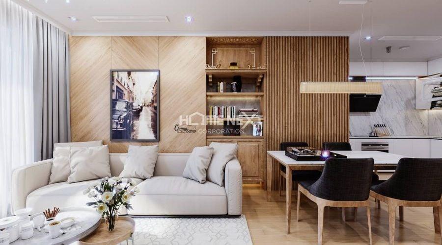 Trang trí tường ốp gỗ cho phòng khách