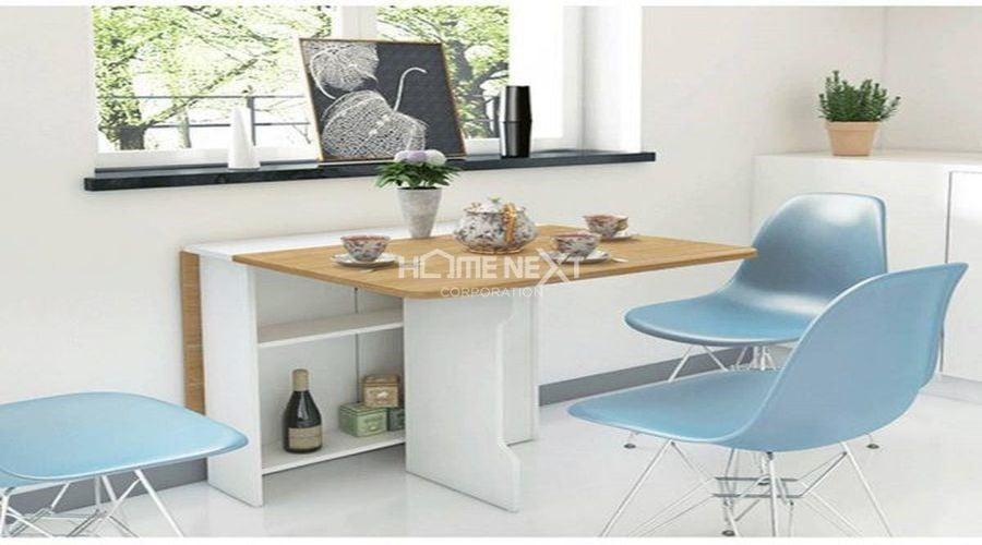 Bộ bàn ăn nhỏ xinh đủ chỗ cho 4 người, khi không sử dụng có thể gập lại gọn gàng