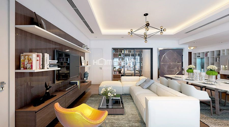 Tổng thể căn hộ có phòng khách và phòng ăn chung với nhau