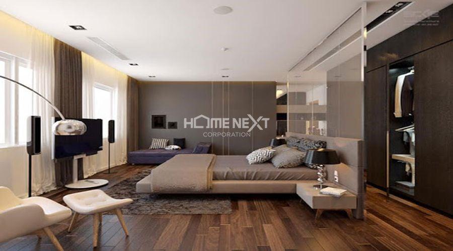 Phòng ngủ master có thiết kế hiện đại sử dụng 2 gam màu Trắng và Đen