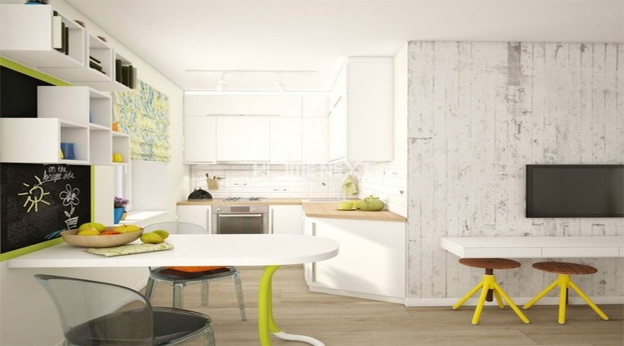 Khu vực bếp nhỏ gọn nhưng đầy đủ tính năng luôn ngập tràn sánh sáng tự nhiên