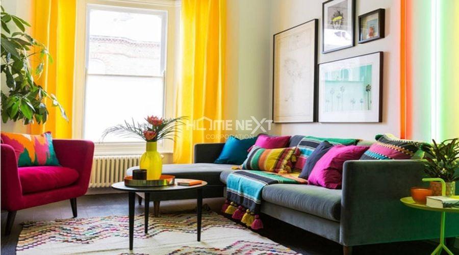 Kết hợp nhiều màu sắc trong một không gian dễ làm không gian chật chội hơn