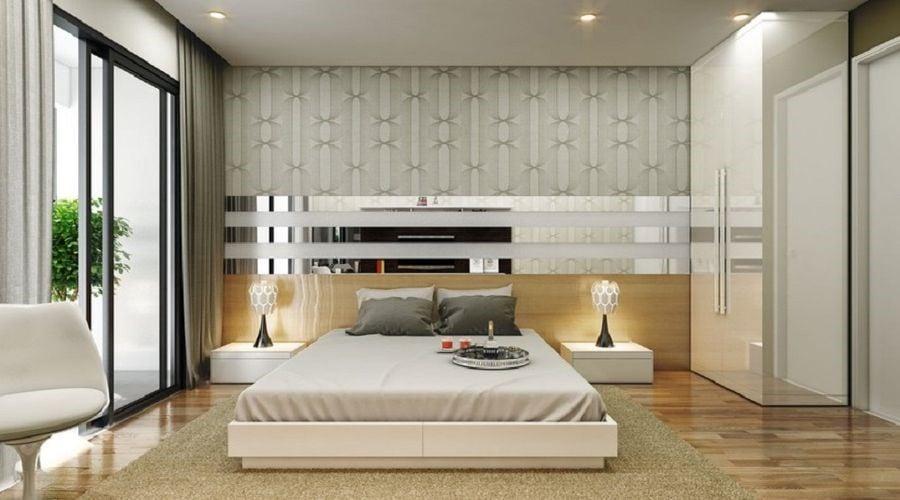 Phòng ngủ rộng rãi với đồ nội thất hiện đại