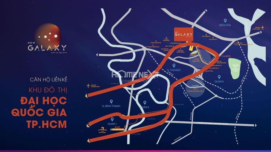 Căn hộ chung cư New Galaxy Bình Dương tọa lạc tại mặt tiền đường Thống Nhất phường Đông Hòa, thành phố Dĩ An, Bình Dương đây là khu vực giáp với làng đại học Thủ Đức. Khu vực tập trung sinh viên đông đảo nhất của tất cả các trường đại học lớn tại TP Hồ Chí Minh, hệ thống trường đại học quốc gia.