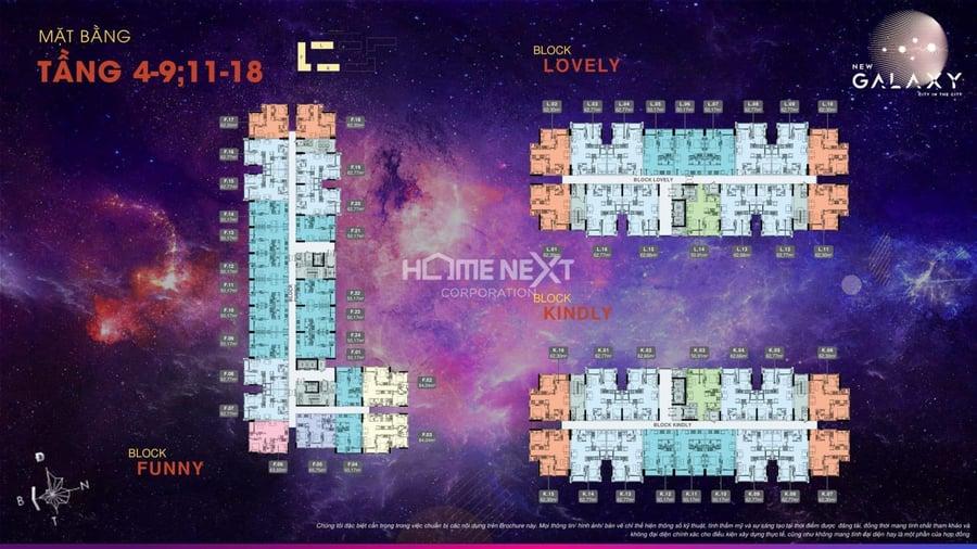 Mặt bằng điển hình tầng 4-9 và 11-18 6 block