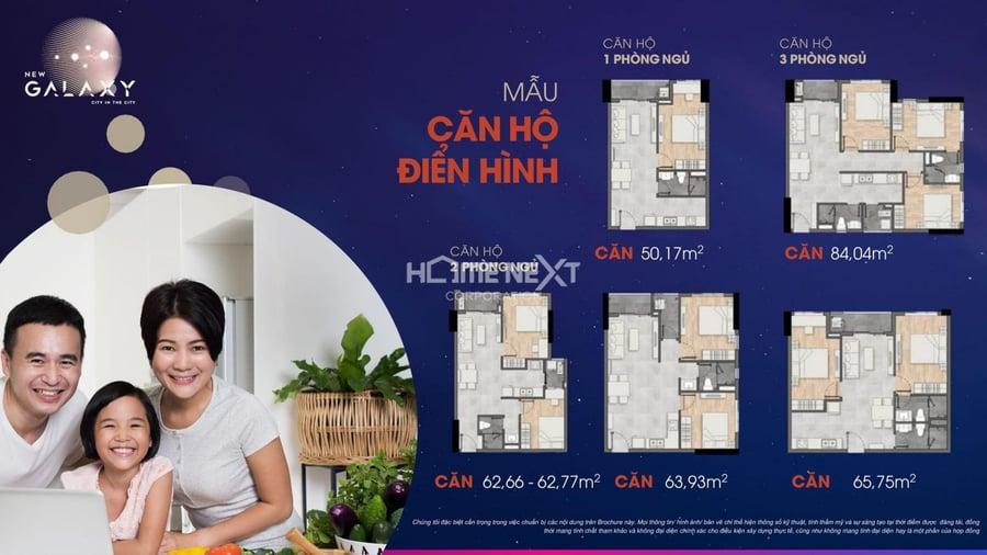 Gần 2.000 căn hộ thông minh Smart Home với thiết kế căn hộ đa dạng từ 1 đến 3 phòng ngủ. Cụ thể:  + Diện tích căn 1PN – 1WC: 50,17 m2  + Diện tích căn 2PN – 2WC: 62,6 – 65,75 m2  + Diện tích căn 3PN – 2WC: 84,04 m2