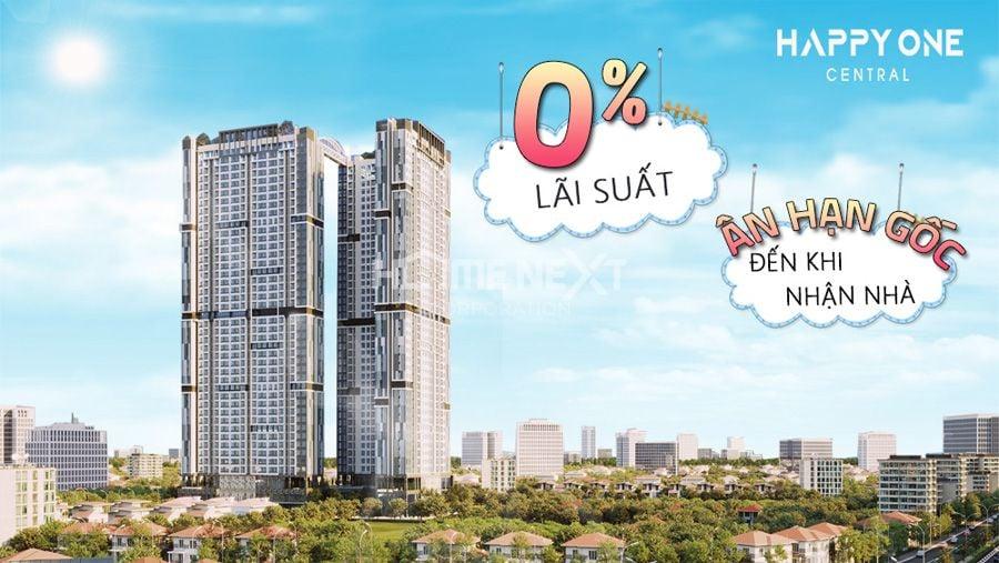 ngân hàng hỗ trợ vay mua căn hộ Happy One Central với mức vay 70%, ưu đãi lãi suất 0%