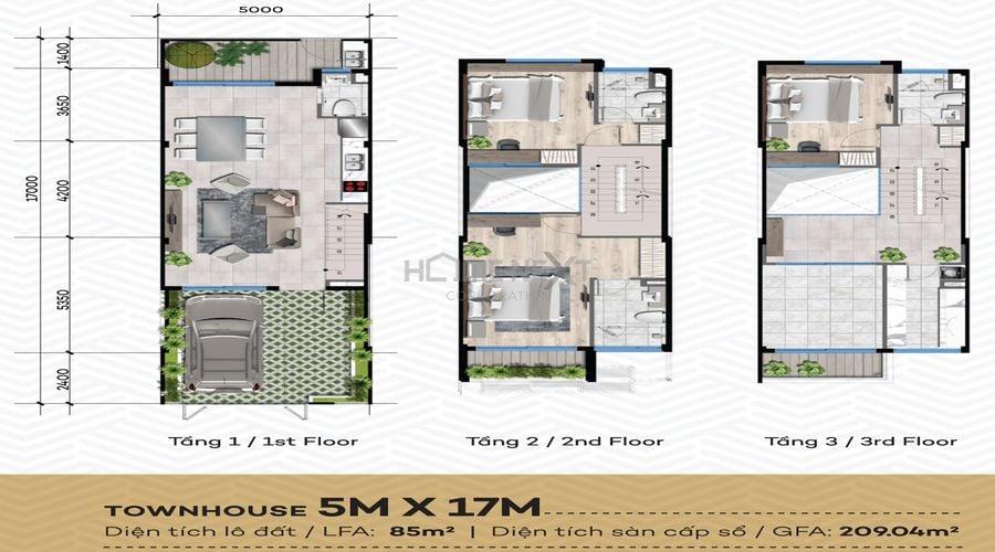 Thiết kế chi tiết dự án nhà phố The Standard Central Park diện tích đất 5x17m