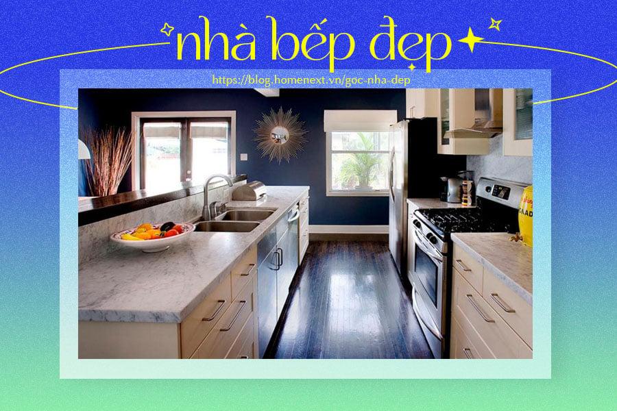 Phong cách Galley giúp căn bếp gia đình trở nên rộng rãi, hiện đại