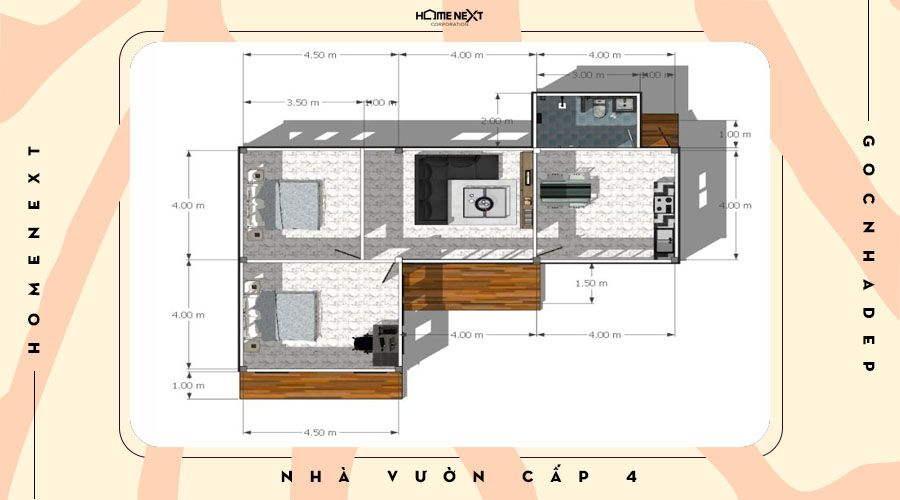 Thiết kế không gian nhà cấp 4 kiểu L