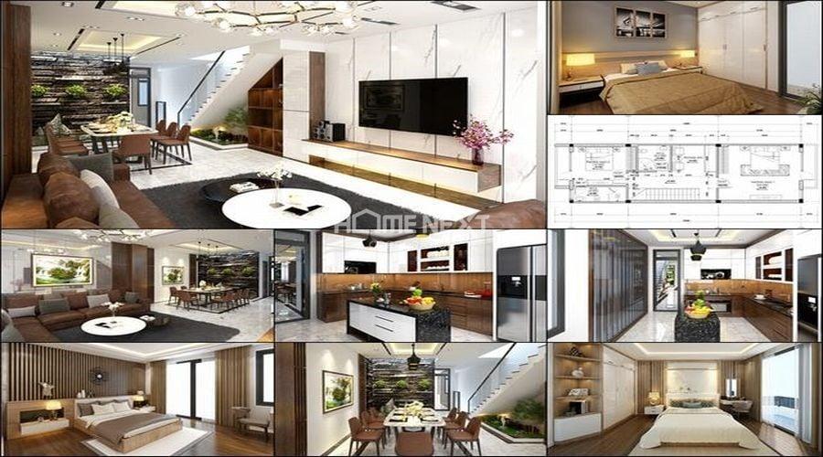 Không gian nhà lệch tầng 5x15m phong cách hiện đại có nội thất hoàn chỉnh