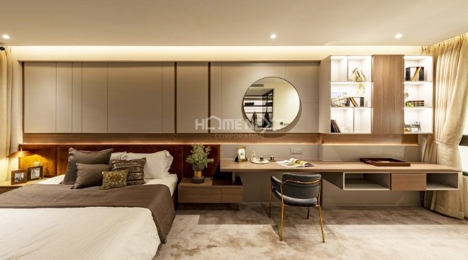 Phòng ngủ Master sử dụng nội thất gỗ cao cấp