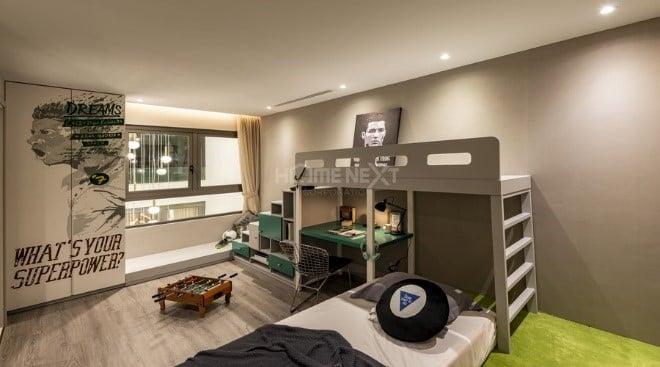 Phòng ngủ cho bé trai với tông màu trầm