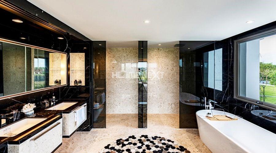 Phòng tắm được thiết kế tối ưu sử dụng nội thất hiện đại