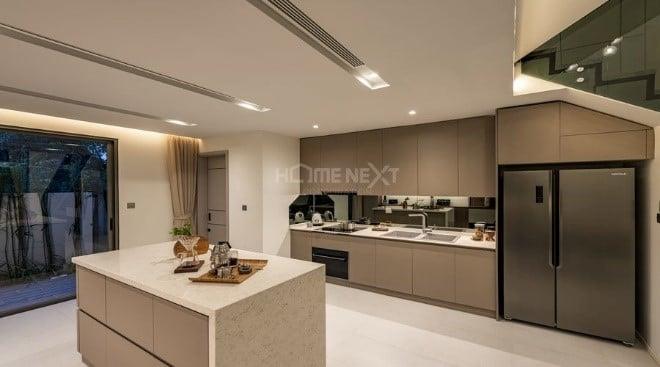 Chiều cao khu vực bếp là 3,1m (sàn đến sàn)