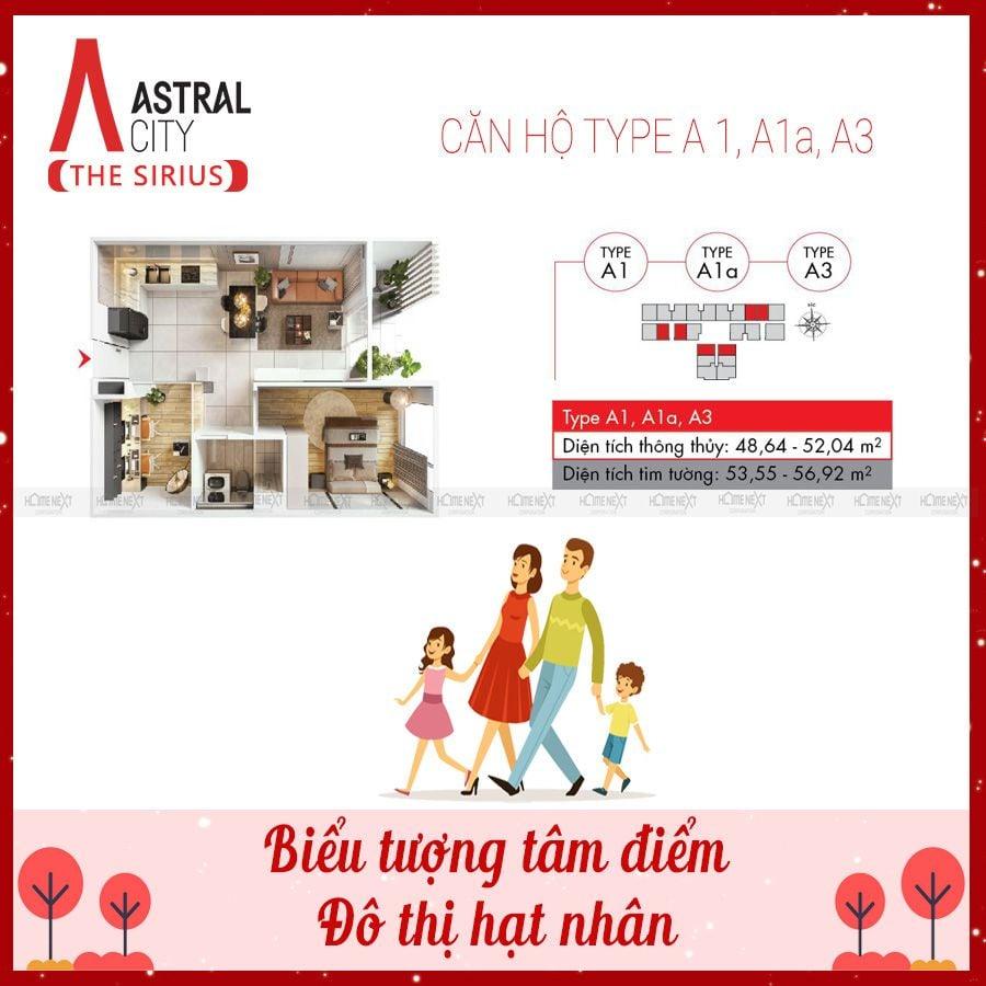 Mẫu căn hộ 1 phòng ngủ Astral City – loại A1, A1a và A3